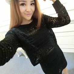 Ando Store - Set: Long-Sleeve Open-Knit Top + Skirt