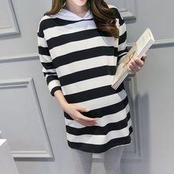Viana Smile - Maternity Striped Hoodie