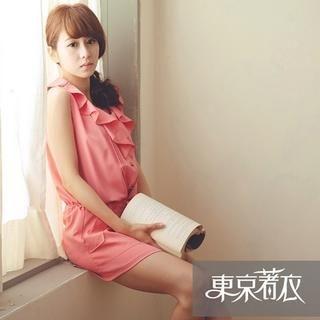 Tokyo Fashion - Sleeveless Drawstring Ruffle Playsuit