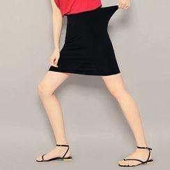 HOTPING - Band-Waist Pencil Skirt