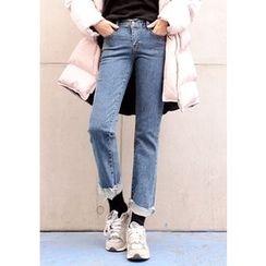 DEEPNY - Fray-Hem Straight-Cut Jeans