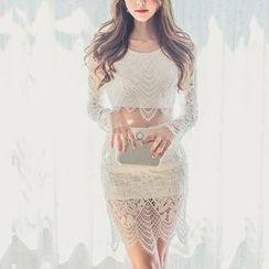Aurora - Set: Cropped Lace Top + Pencil Skirt