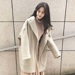 QZ Lady - Plain Notch Lapel Long Coat
