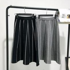 氣質淑女 - 條紋針織A字中長裙