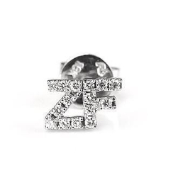 MBLife.com - Double Alphabets Paved Diamond Single Earring Letter ZF - 18K/750 White Gold
