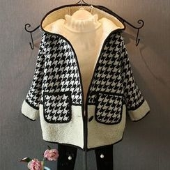 Rakkaus - Contrast-Trim Houndstooth Hooded Coat