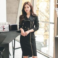 Gl.bY - Long-Sleeve Zip Sheath Dress