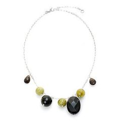Keleo - Silver onyx, green turqoise, smoky quartz necklace