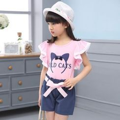 Petit Chatons - Kids Set: Printed Ruffle Trim Short-Sleeve T-Shirt + Bow Shorts