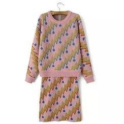 JVL - Set: Patterned Sweater + Skirt
