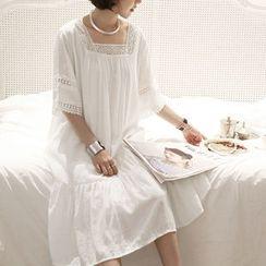 NANING9 - Lace-Trim 3/4-Sleeve Dress