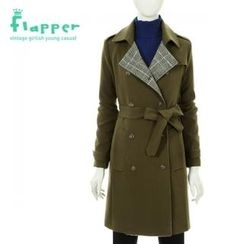 Flapper - Check-Trim Trench Coat