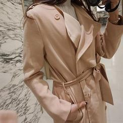 repley - Flap-Front Double-Breasted Trench Coat