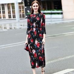 Elabo - Floral Print 3/4 Sleeve Midi Dress