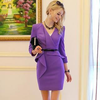 Dabuwawa - Long-Sleeve Wrapped Ruffle Dress