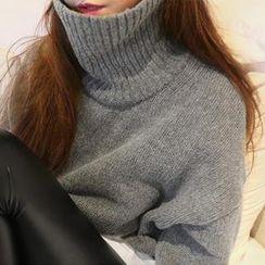 NANING9 - Turtle-Neck Drop-Shoulder Sweater