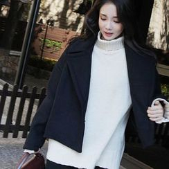 Seoul Fashion - Wool Blend Notched-Lapel Coat