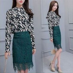 MayFair - Set: Patterned Blouse + Lace Pencil Skirt