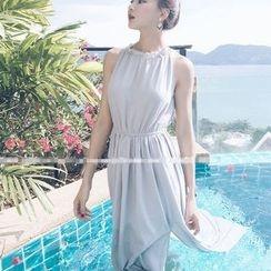 Oaksa - 側開衩無袖雪紡連衣長裙
