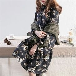 PEPER - Floral Patterned Ruffle-Hem Dress