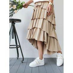STYLEBYYAM - Band-Waist Layered Skirt