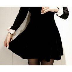 Marlangrouge - Velvet Flare Mini Skirt