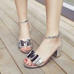 BAYO - Metallic Bow Heeled Sandals