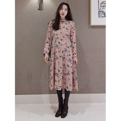 maybe-baby - Mock-Neck Floral Print Long Dress