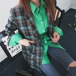 DABAGIRL - Double-Breasted Plaid Blazer