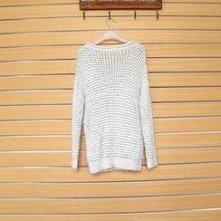TWILOS - Furry Long Knit Top