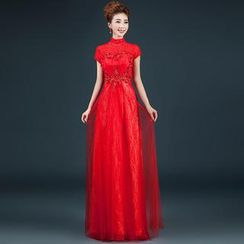 Royal Style - Short-Sleeve Mock-Neck Lace A-Line Evening Gown