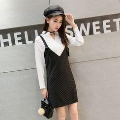 Sheeno - Set: Stand-collar Long-Sleeve Blouse + Spaghetti Strap Dress