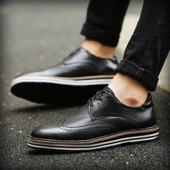BINSHOU - Wing-Tip Lace-Up Oxfords