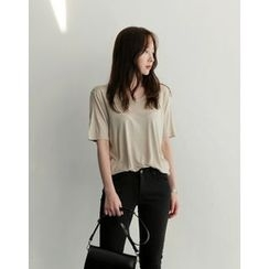 UPTOWNHOLIC - Scoop-Neck Cotton Top