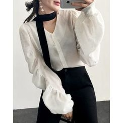 UPTOWNHOLIC - V-Neck Shirred-Sleeve Blouse With Sash