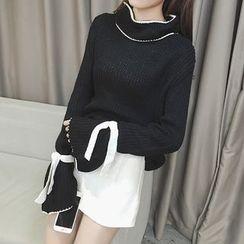 Bloombloom - Contrast Trim Tie Cuff Sweater