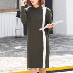 Ekim - Long-Sleeve Color Block Knit Dress