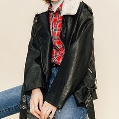 Heynew - Faux Leather Biker Jacket