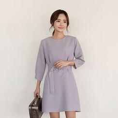 Seoul Fashion - Pintuck-Sleeve Mini Dress with Belt