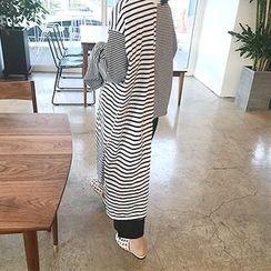 MARSHMALLOW - Asymmetric-Hem Striped Top