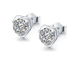 BELEC - 925 Sterling Silver Heart-shaped with White Cubic Zircon Stud Earrings