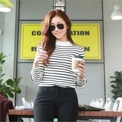 PIPPIN - Mock-Neck Striped Knit Top