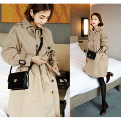 ssongbyssong - Double-Breasted Trench Coat With Belt