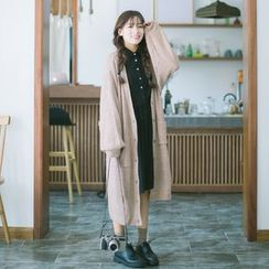 Grazia - Plain Buttoned Long Knit Cardigan