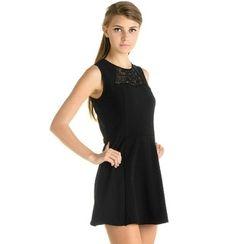 59 Seconds - Lace Inset Sleeveless Dress
