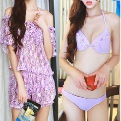 DJ Design - Set: Bikini + Floral Print Cover-up