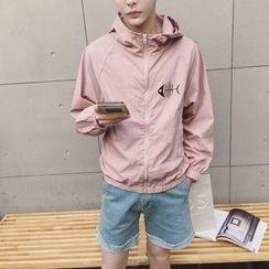 Besto - Fishbone Print Hooded Jacket