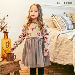 LILIPURRI - Girls Flower Pattern Tulle Dress