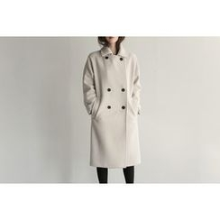 UPTOWNHOLIC - Stitched-Trim Wool Blend Coat
