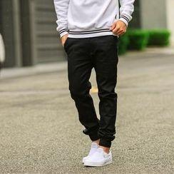 SeventyAge - Jogger挺版素色抽绳长裤缩口裤